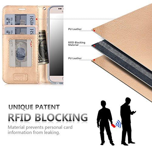 iPhone 8 Plus Hülle , iPhone 7 Plus Hülle, Fyy® [RFID Blockierender Geldbeutel] 100% handgenähter Geldbeutel mit Kartenhaltern für Apple iPhone 8/7 Plus ,Mintgrün C-Pattern-14
