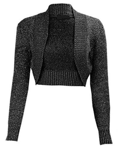 Neue Frauen Lurex Bolero Lange Ärmel Bauchfrei mit Crochet Strick Top Strickjacke UK Größe 8–14 Gr. S/M, Schwarz