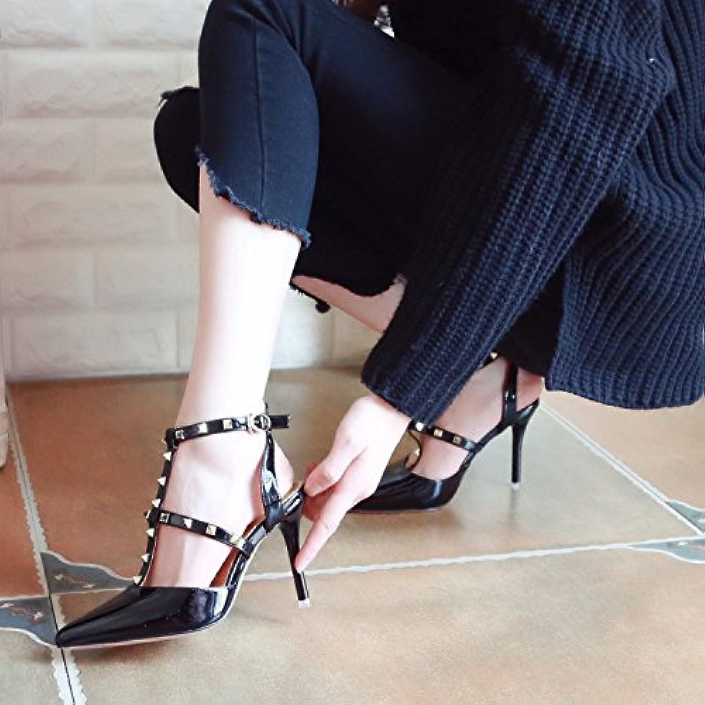 Xue Qiqi Tribunal Zapatos Sandalias Zapatos de Baile Fijaciones Remaches ranurados Hollow Sandalias de Tacón Alto...