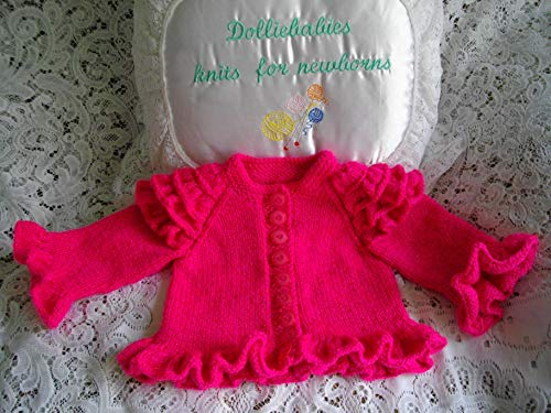 DollieBabies Knitting Pattern 30 Friily Layered Sleeve Baby/Reborn Doll Cardigan Very Premature - 3 months (English Edition) -