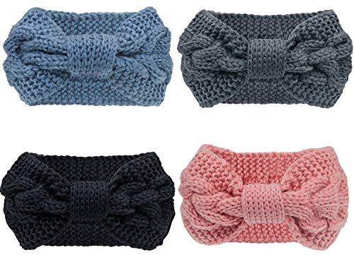 Pacrate Stirnband Damen Winter Warmes Knoten Gestrickte Stirnbänder Elastisches Frauen Haarband Mädchen Haarbänder Kinder Gestrickt mit Ohrenschutz