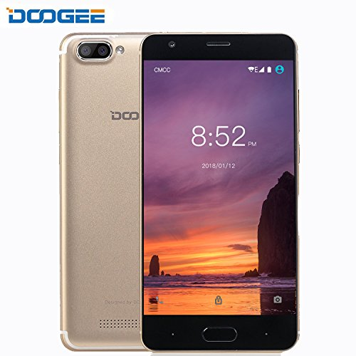 Smartphone ohne Vertrag, DOOGEE X20 Dual SIM Guenstig Handy, 3G Android 7.0 Senioren Smartphones, 5 Zoll HD IPS Display Handys mit MT6580 Prozessor, 1GB RAM + 16GB ROM, 2.0MP + Dual 5.0MP kamera - Gold