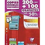 ClaireFontaine - Réf 44711C - Un Étui Carton de 200 Pages + 100 Gratuites Copies Doubles Perforés Grand Carreaux A4 90 g vendu à l'Unité