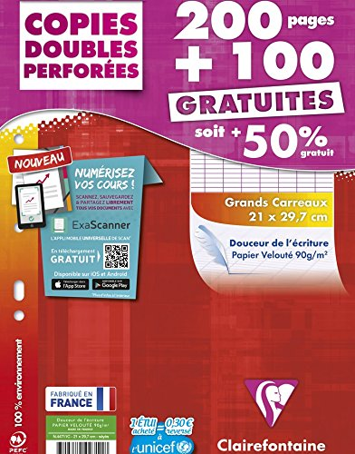Clairefontaine Seyès-Ruled Large Squares Double-Sided Pack of 200/100 Free