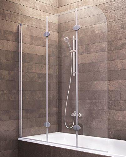 Duschabtrennung Badewanne Glas 3 teilig 140x125 cm Hamburg