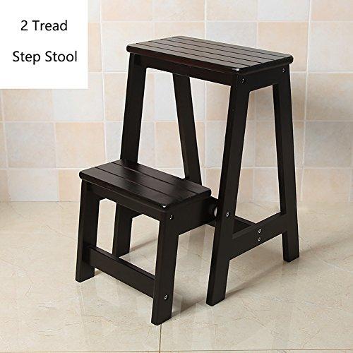 YXX- Holz 2 Schritt Hocker für Erwachsene & Kinder Indoor Folding Stepladder Küche Holzleiter Kleine Fußhocker Portable Schuh Bank/Blumenregal (Farbe : Black)