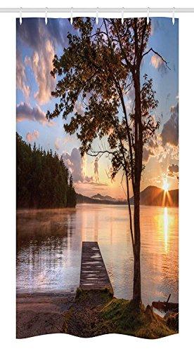 Yeuss Seascape Stall Duschvorhang, Ufer des siebten Lake Tree Sunbeam bei Sonnenuntergang Wasser Reflexion Ruhe, Stoff Badezimmer Dekor Set mit Haken, Brown Peach Blue (Wasser Sunbeam)