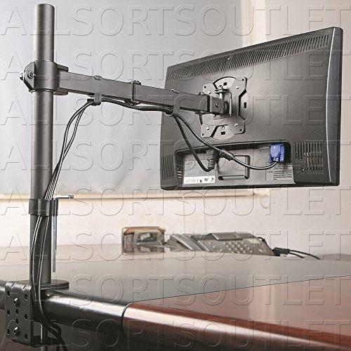 Single LCD LED TFT Monitor Arm Desk Mount Stand Bracket Clamp Fully Adjustable/Tilt/Articulating for 1 VESA Screen up to 27