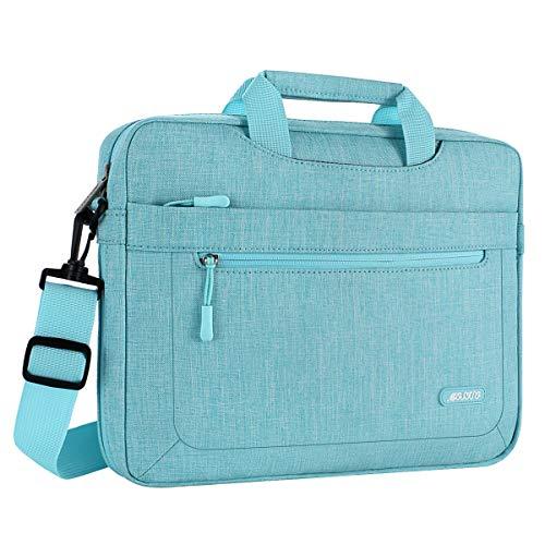 MOSISO Umhängetasche/Laptoptasche Kompatibel 11,6-13,3 Zoll MacBook Air, MacBook Pro, Notebook Computer Polyester Laptop Schultertasche mit Verstellbarer Tiefe an der Unterseite, Heiß Blau