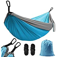 AUTOPkio Double Camping Hammock - 270 x 140cm/106'' x 55'' Ultralight Nylon Portable Hammock Parachute Hammocks Hold Up to 300Kg with 2 x Adjustable Hanging Straps for Hiking, Travel, Beach, Yard