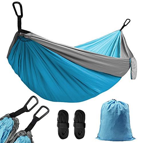 AUTOPkio Camping Hamac Ultraléger Portable - 300Kg Capacité de Charge 270 x 140cm Double Hamacs Nylon à Parachute avec 2 x Mousquetons 2 x Sangles pour 1-2 Personnes Jardin Voyage
