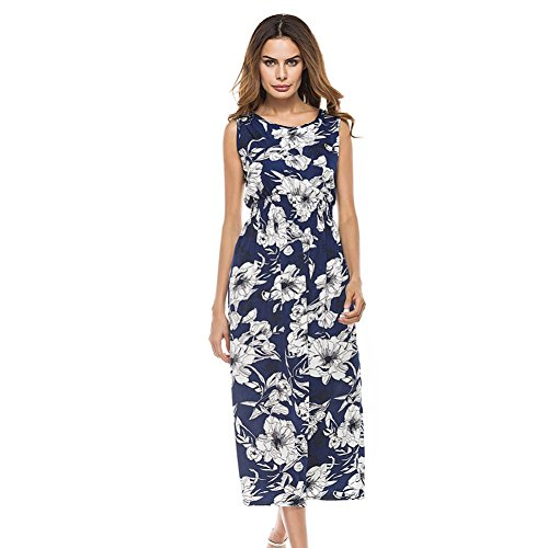hansee Frauen Boho lang ärmellos floral print lose Rundkragen Wadenhohe Casual Kleid, Mädchen damen, 0814, Multi (Size Plus Elsa Kostüme)