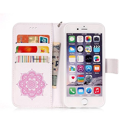 iPhone Case Cover Peint à la mode de couleur Wallet Style Case Magnétique Design Flip Folio PU Housse en cuir Housse de standup pour IPhone 6S Plus ( Color : Deongaree , Size : IPhone 6S Plus ) White