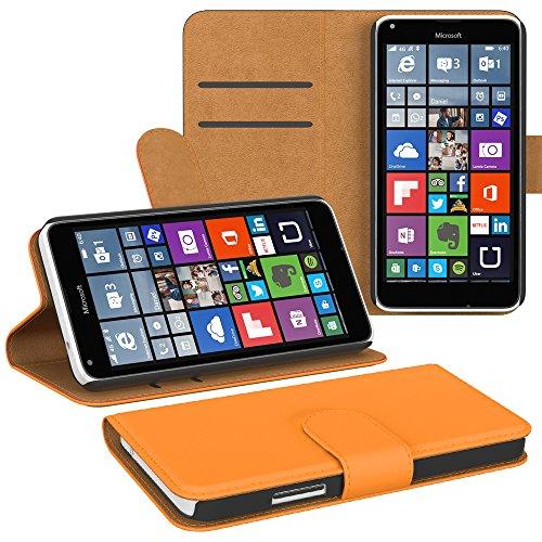 PREMIUM - Flip Case für - Nokia Lumia 535 - Wallet Cover Hülle Schutzhülle Etui Tasche Schwarz Orange (Book)