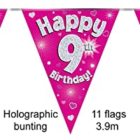 Happy 9th Birthday Pink Holographic Foil Party Bunting 3.9m Long 11 Flags