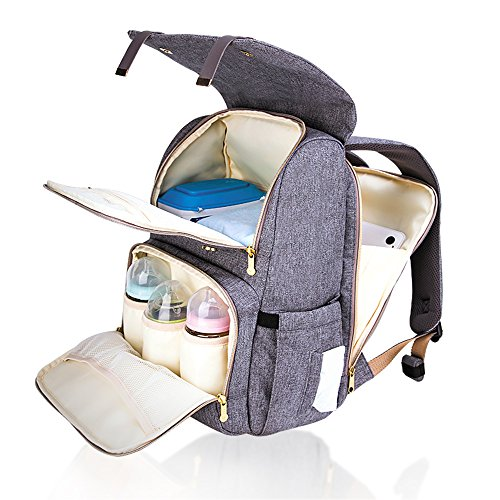 SUNVENO Baby Wickelrucksack Wickeltasche mit Wickelunterlage Multifunktional Wasserdicht Reise Rucksack Modern Handtasche Organizer (Grau)