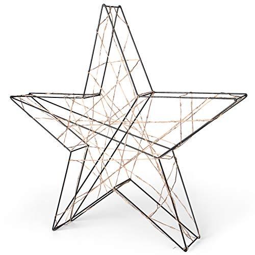 SnowEra LED Weihnachtsbeleuchtung in warmweiß | Weihnachtsdeko aus Metall in Schwarz/Kupfer | Höhe: 48 cm | Weihnachtsstern mit 200 Micro LEDs | Stern für Weihnachten | für innen geeignet