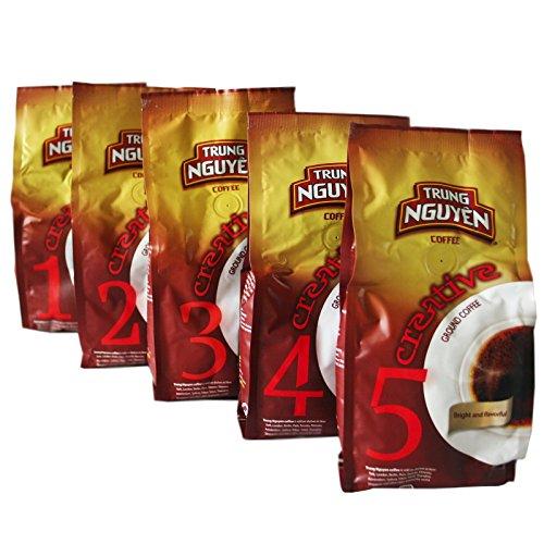 5er Probierset Trung Nguyen Vietnam Kaffee Creative 1,2,3,4,5 gemahlen (5x250g) (Nguyen Kaffee)
