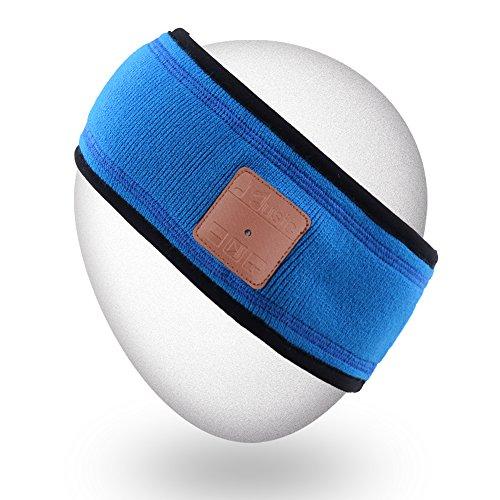 Mydeal Unisex Música Bluetooth Headband Sweatband con auriculares inalámbricos Altavoces Mic manos libres para gimnasio Ejercicio Running Skiing Snowboard Camping Patinaje, Regalo de Navidad   Azul