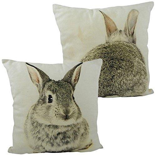 Kissen Hase - Kaninchen Dekokissen mit zwei Abbildungen 33 x 33 cm