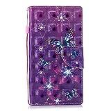 BONROY Lederhülle Wallet Case für Sony Xperia L2 Flipcase 3D Effekt PULeder Hülle Brieftasche Book Tasche Handyhülle Schutzhülle Handytasche Handyschale-(HX-lila Schmetterling)