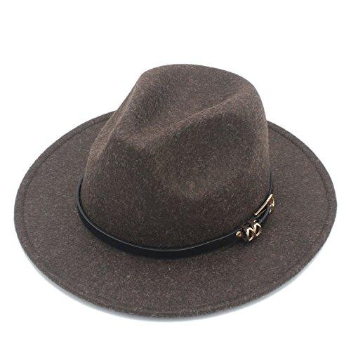 MMD-women's hat Mode Retro Hanf Farbe 100% Wolle Panama Sombrero Frauen der Breiten Krempe Fedora Hut für Lady Cashmere Kirche Cap Gentleman weich (Farbe : 6, Größe : 57-58 cm) - Sombrero Panama