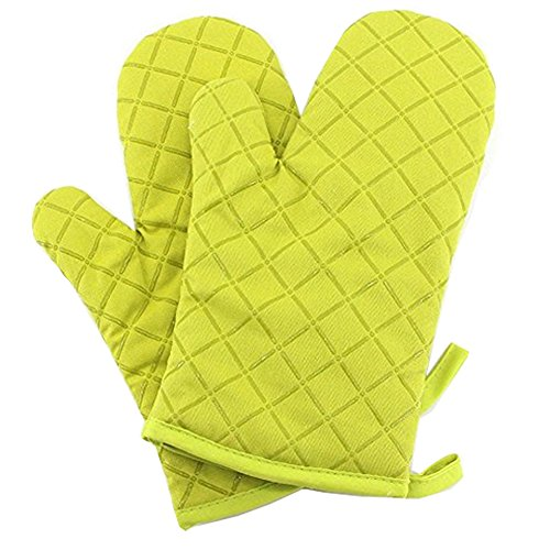 YOBOKO Cotton Heat Resistant Silicone Surface Microwave Oven Gloves Pot Holder Kitchen Accessories 1 Pair (Grün)