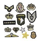 Bella 14pz Patch Applique Toppe Ricamato AIRBORNE US Esercito Corona Stella Distintivo Stemma Stile Militare Ricamo Craft Iron On Sew On Termoadesive