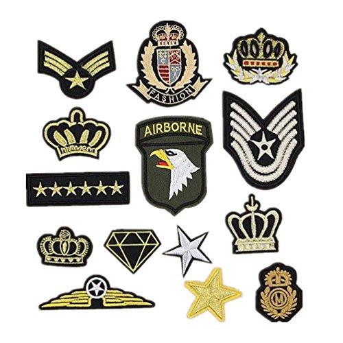 Bella 14pcs Patch Applique Appliqués à Coudre Brode Broderie AIRBORNE US Armée Couronne Étoile Badge Armoiries Militaire Style Patch Thermocollant