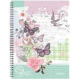 Herlitz Spiralblock, A4, kariert mit 2 Rändern, 5-er Pack, Motiv Ladylike Butterfly