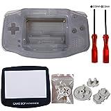 eJiasu Vollständige Teile Ersatz Gehäuse Shell Reparatur Teil Fall Deckung für Nintendo Gameboy Advance GBA (1PC GBA Shell transparent blau mit Linse und Schraubendreher)