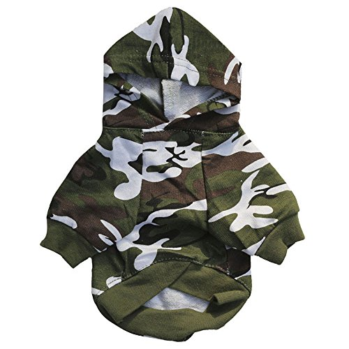 Balock Schuhe Welpen Hund Baumwolle Camouflage Weste,Welpen-Haustier-Hundekleidung Sweatshirts,für Kleinen Hund Teddy,Vollkommen für Das Wandern,Das Joggen(Grün) (XS) -