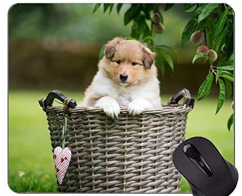 Alfombrilla de ratón de Caucho Natural Impresa con Canasta para Mascotas Collie Collie Dog - Bordes cosidos