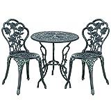 [casa.pro]®] Gartentisch/Bistro-Tisch 60cm, rund, grün mit 2 Stühlen - Französische Gartenmöbel im Antik-Look für Balkon/Terrasse - Bistro-Set wetterbeständig, Gusseisen-Metall als Gartendeko