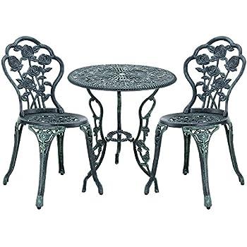 [casa.pro] Gartentisch / Bistro-Tisch 60cm, rund, grün mit