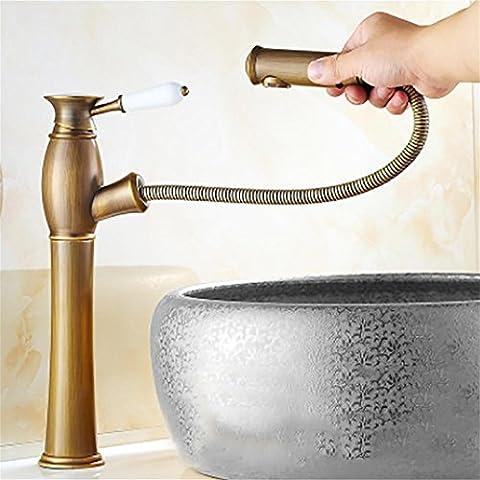 Antique Brass Fertig Einhand-Pull Out Verbreitet Waschbecken Wasserhahn Handgriff-Entwurf Sprayer Pull Down , B