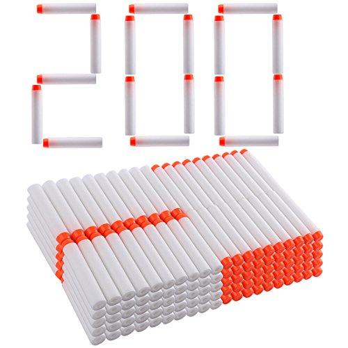 Foxom 200pcs Recargas Dardos Nerf, 7cm Espuma Suave, Fluorescencia Blanco, para NERF Juguettos, N-strike Elite, Rebelle, Retaliator, Modulus, Mega