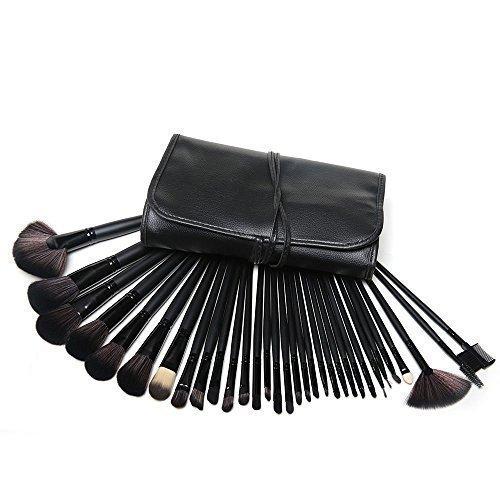 KanCai® 32pcs pinceaux maquillage professionnel noir manche en bois synthétique Pinceau à maquillage kit avec étui en cuir