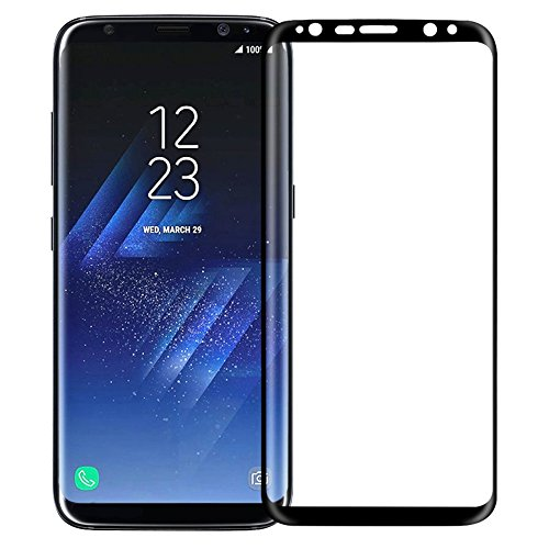 Samsung Galaxy S8 Plus Tempered Glass 4D Premium Screen Guard for Samsung Galaxy S8 Plus Scratch Protector Black Edges [With Precise Sensor holes]