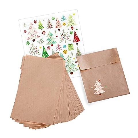 25 braune Geschenk-Papier-Tüten-Tütchen-Verpackungs-Weihnachten (13 x 18 + 2 cm Lasche) + Sticker-Bogen glitzernde Weihnachtsbäume; als Geschenk, +gebsel oder Tischdekoration für Geburtstag, Party, Hochzeit uvm.