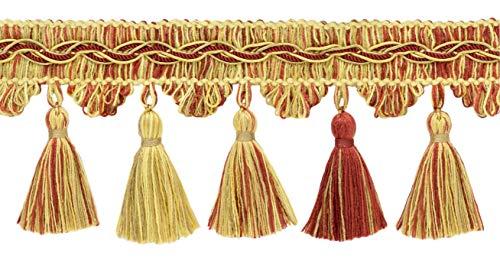 Goldene Farbe Dekorative Trimmen (DecoPro VTF035 Fransenverzierung, 9 cm, Camel, Beachwood Gold, dunkler Rost, Stil: #VNT31, Farbe: Golden Harvest - 1 Yard = 91 cm)