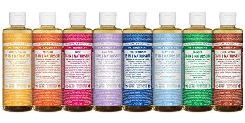 Dr. Bronner´s Naturseife Lavendel 18-in-1 Magic Soap natürliche Flüssigseife aus biologischem Anbau, vegan, keine Zusatzstoffe, Fair Trade zertifizierte Bioseife (1x60ml) - Dr. Bronners Seife Lavendel