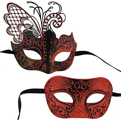 Xvevina Venezianische Party Maske Herren Maske - Rot - Einheitsgröße (2019 Ideen Halloween-kostüme Adult)