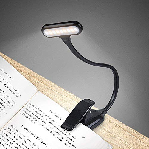 PICKVILL Sturdy Adjustable Lightweight Eye-Care Easy Clip-on COB LED Book Reading Lamp w/Flexible Arm for Bookworms and Kids