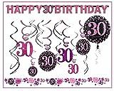 30.Geburtstag Dekoration Deko-Set Pink Happy Birthday Partykette Girlande Konfetti Dreißig Jahre