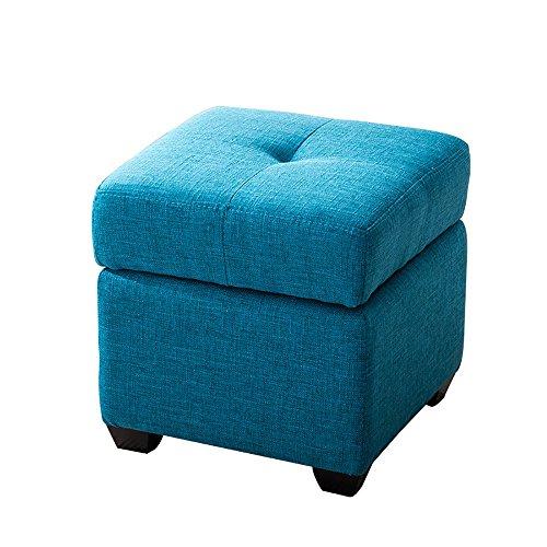 ZXQZ Tabouret coloré en Bois Solide/Tabouret de Chaussure de Foyer/Tabouret de Stockage de Chambre à Coucher (6 Couleurs facultatives) Repose-Pieds de Stockage (Couleur : Bleu, Taille : 30 * 36cm)