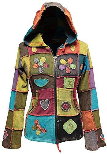 shopoholic Fashion Femme LOVE PEACE PATCHWORK HIPPIE veste à capuche - Multi, Small