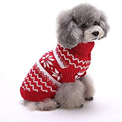 Pet Clothes , Snowflake Pet Dog Puppy Warm Sweater Jumpsuit Clothes Outwear