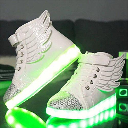 DoGeek Scarpe Led Bambina Scarpe Con Luci Luminosi Sneakers Con Luce Nella Suola Bright Tennis Scarpe Ali USB 7 Colori Lampeggiante Trainners Bianco