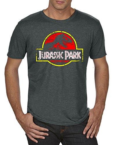 TLM Jurassic Park Distressed Logo T-Shirt Herren XL Darkgrey meliert (Herren-tee Logo Distressed)